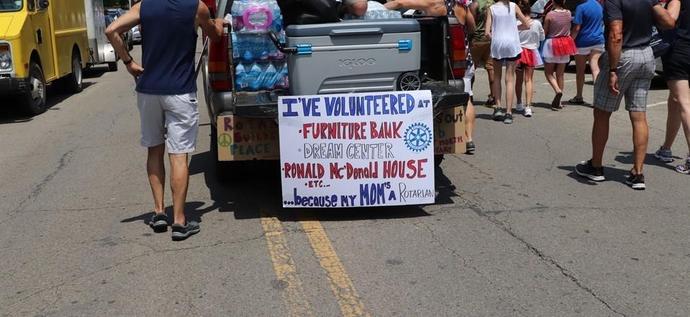 Parade Sign Listing Volunteer Engagements